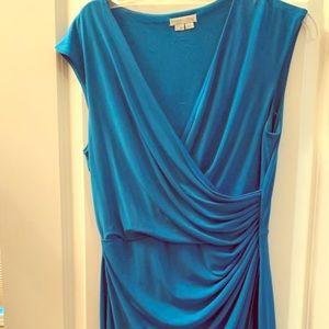 Calvin Klein blue faux wrap sheath dress
